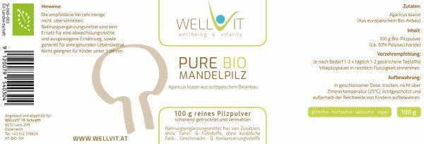 Bio Mandelpilz Agaricus Pulver