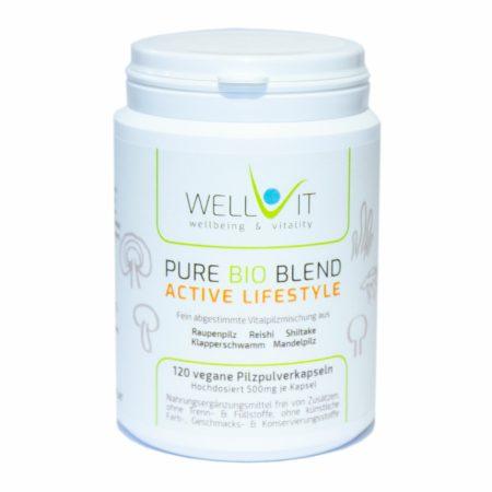 Pure Bio Blend Active Lifestyle 120 Kapseln je 500mg Vitalpilzmischung aus Raupenpilz Reishi u.a.