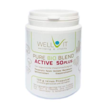 Pure Bio Blend Active 50plus 100g Vitalpilzmischung aus Raupenpilz Igelstachelbart Reishi Mandelpilz Klapperschwamm Shiitake