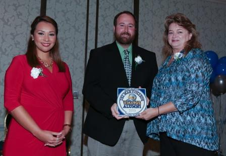 From left to right, Jennifer Lira, KRIS News Anchor, Del Mar College Graduate, and Mistress of Ceremonies; Brady McNulty, 2013 Young Alumni Award Recipient; Gina Prince, Del Mar College Vikings Alumni Association Awards Chair.
