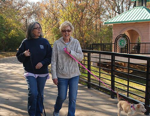 Ladies Walking Dog