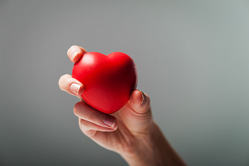 Female hand grasping heart.