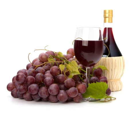 grapes and red wine