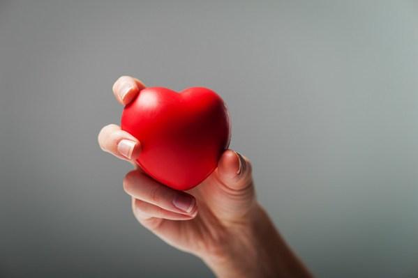 Hand holding a foam heart.