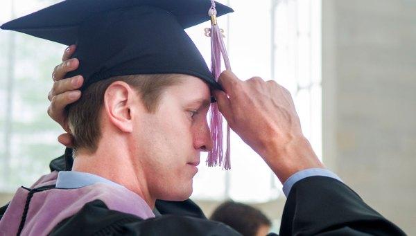 Graduate getting ready