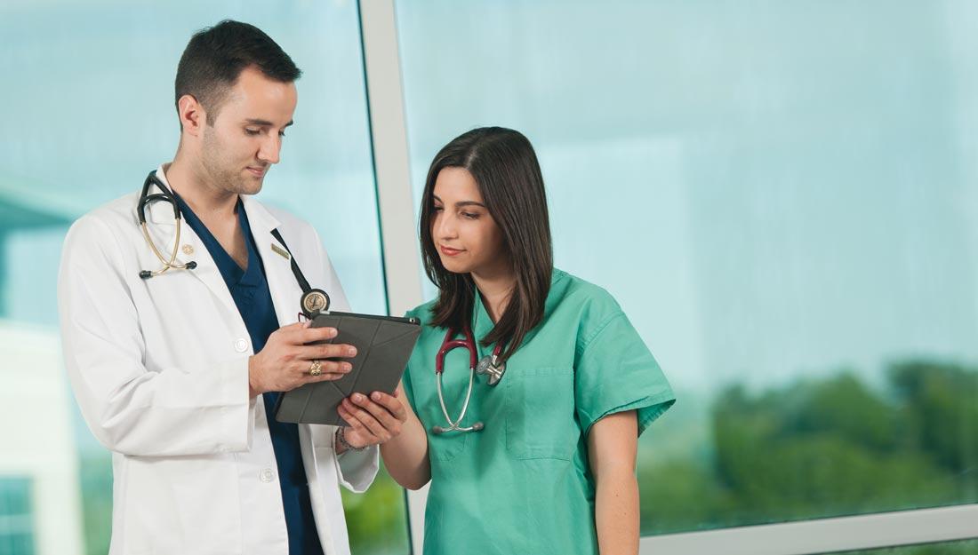 doctor nurse talking