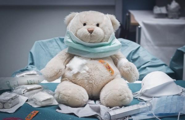 Teddy bear in a hospital