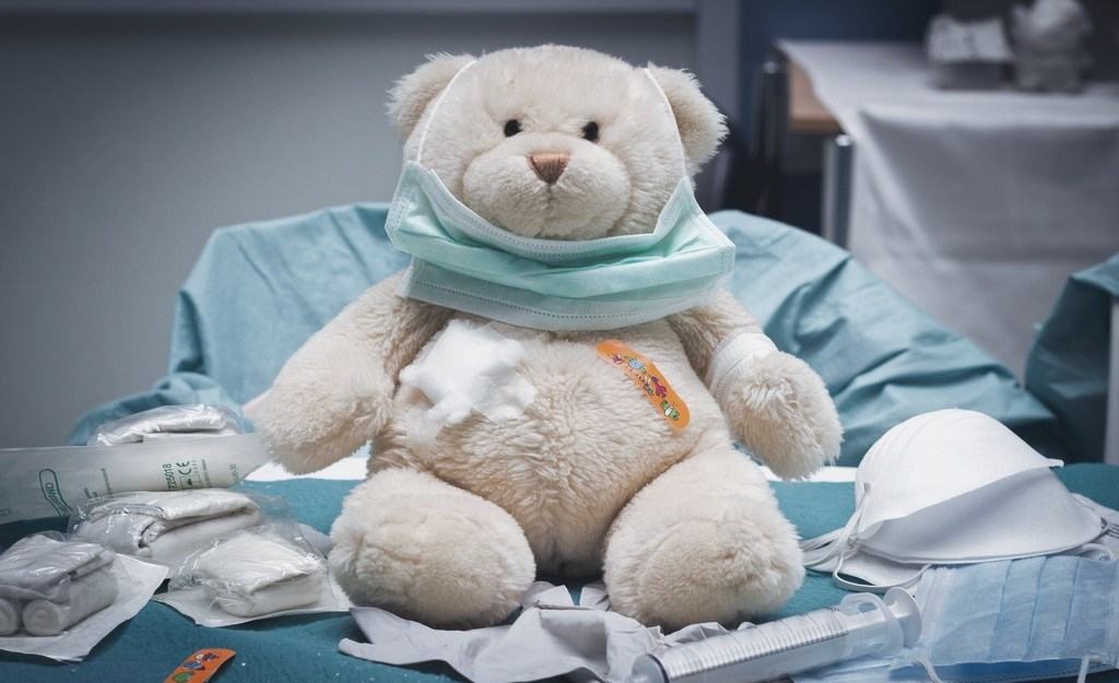 Teddy bear in a hospital