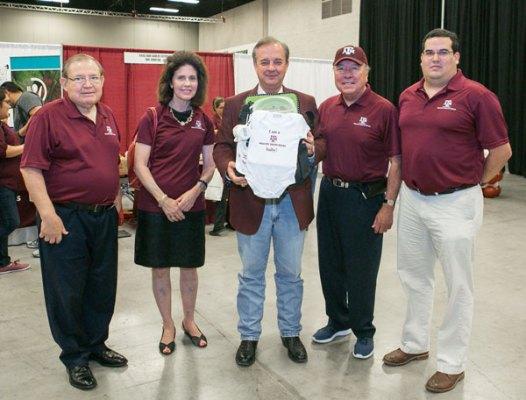 "Pictured (from left): Hidalgo County Judge Ramon Garcia, Charlotte Sharp, Texas A&M Chancellor John Sharp, Senator Juan ""Chuy"" Hinojosa, Hidalgo County Executive Director Robert ""Bobby"" Villarreal"