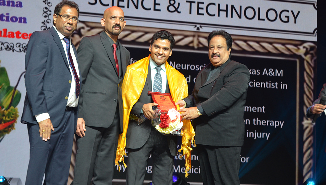 Reddy Receiving Telangana Science & Technology Excellence Award