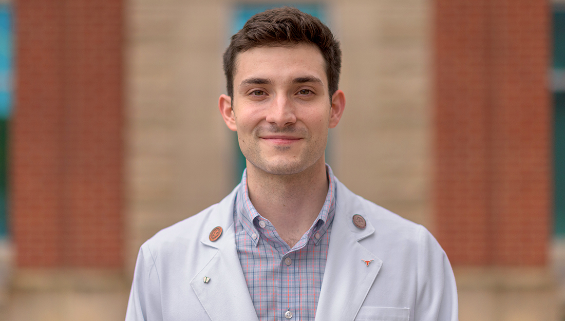 Thomas Dowlearn stands outside of Texas A&M College of Medicine.