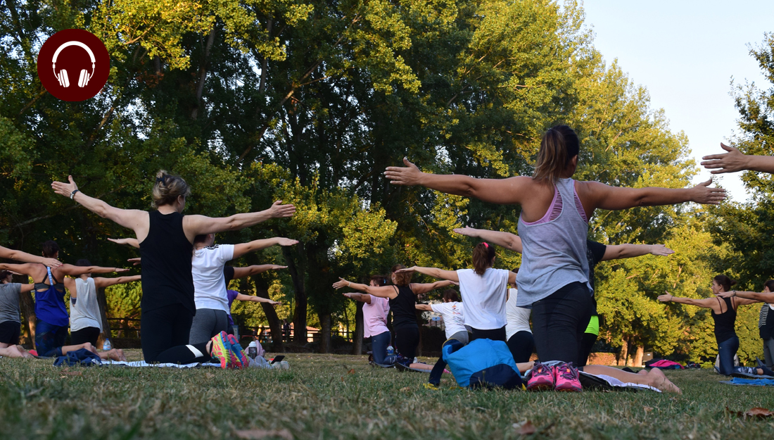 People exercising in a park