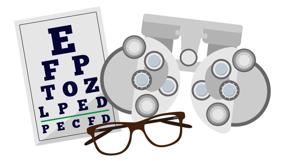 Eye chart glasses and eye machine