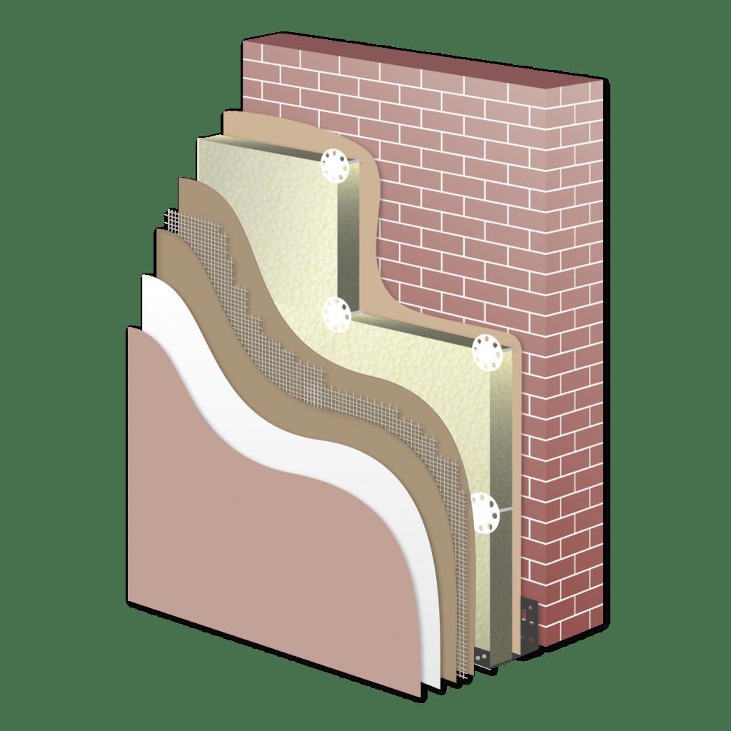 Sistema a cappotto in schiuma polyiso
