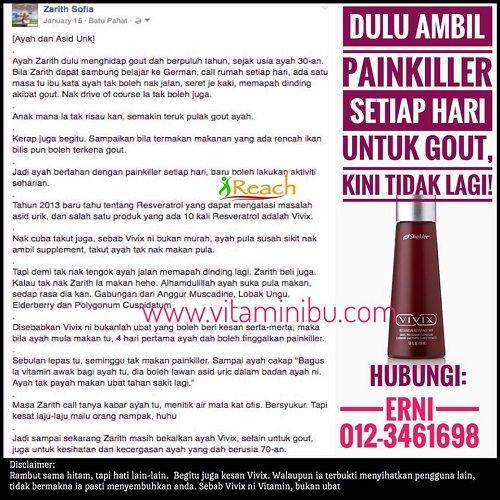 Testimoni Vivix Shaklee Rawat Gout Kurangkan Asid Urik