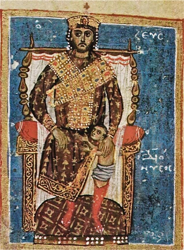 Affresco Bizantino - Dioniso nasce dalla coscia di Zeus-Imperatore Bizantino