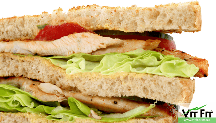Healthy sandwich with chicken and vegetables