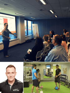 Personal Trainer Vit Presenting at the Desk Athlete Workshop in Qantas, Vit coaching 2 people in the gym on kettlebell lifting.