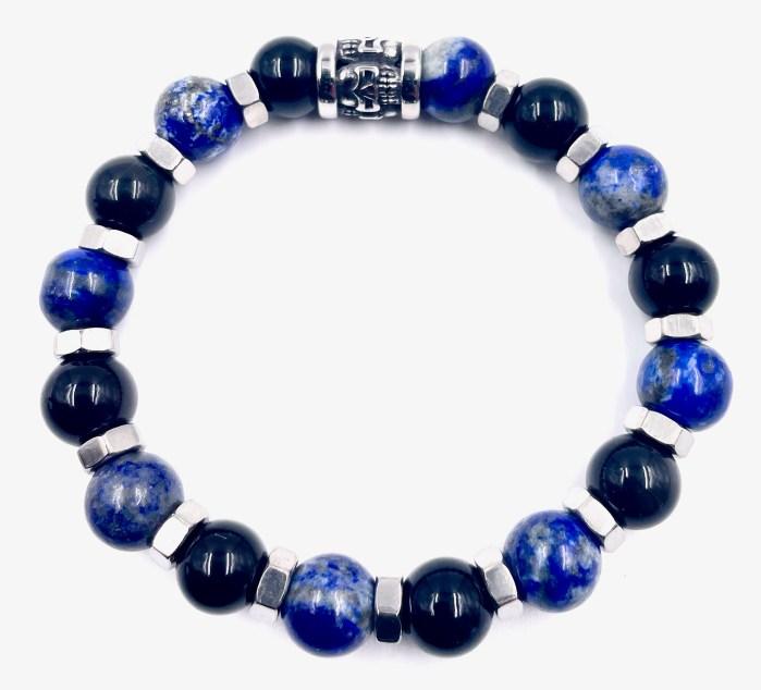 bracelet lapin lazuli et obsidiennes VitoArtMétal