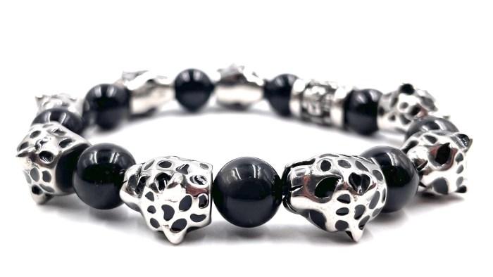 bracelet obsidiennes tête de guépard
