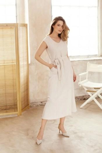 Lniana sukienka beżowa midi sukienka z lnu lato 2021 polska marka Vito Vergelis