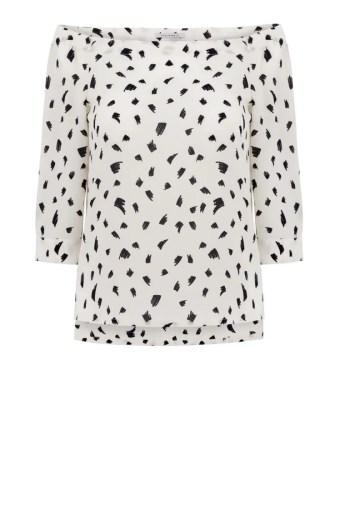 Biała bluzka hiszpanka w nadruk. Bluzka dekolt carmen marki Vito Vergelis