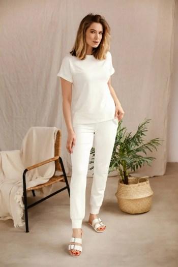Spodnie dresowe damskie micromodal białe i biała bluza damska. Dres damski micromodal polska marka Vito Vergelis