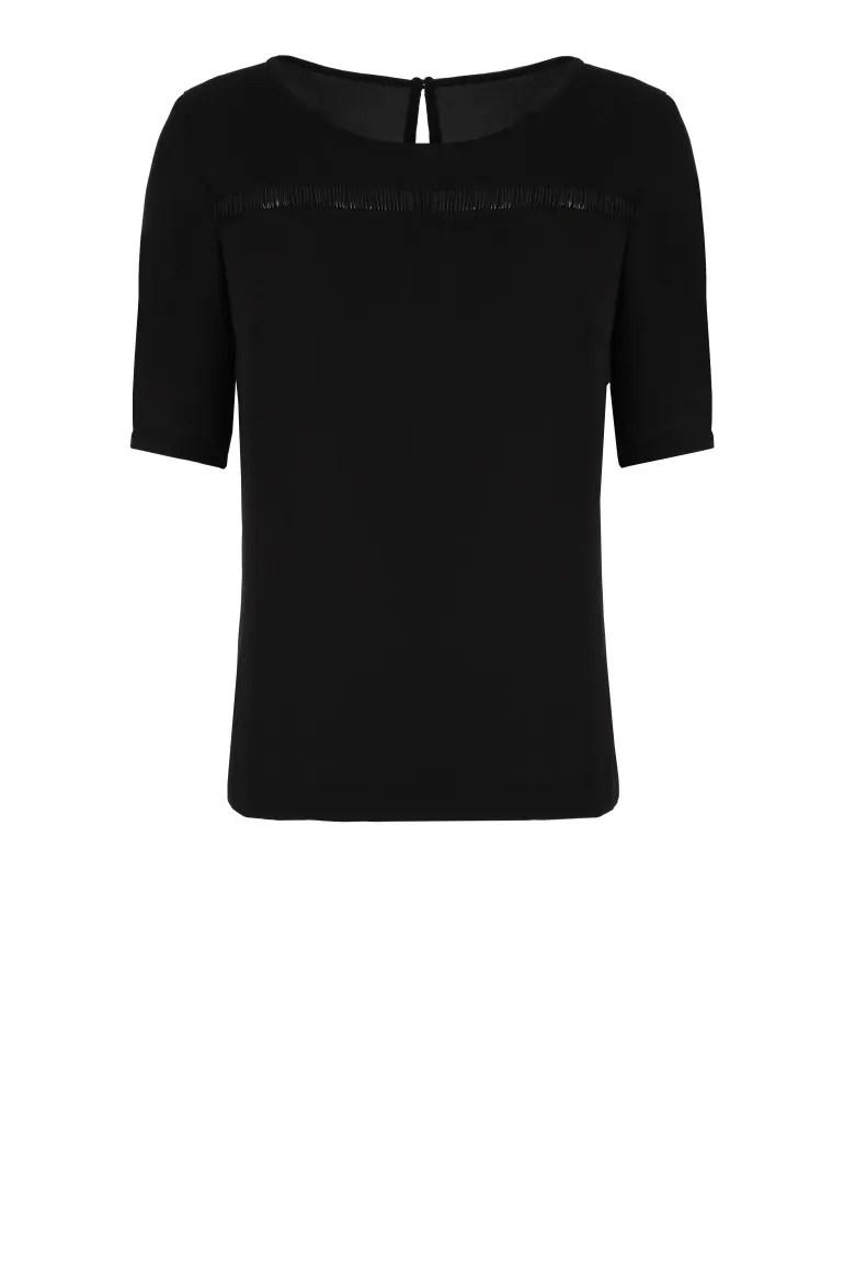 Czarna bluzka Vito Vergelis z prześwitującą wstawką.