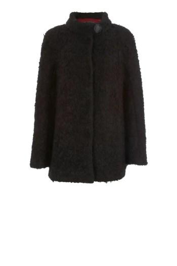 czarna zimowa kurtka damska z wełny jagnięcej z angorą Vito Vergelis