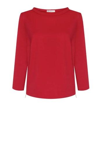 Czerwona bluza damska ze stójką i suwakami pobokach. Bluza dzianinowa marki Vito Vergelis