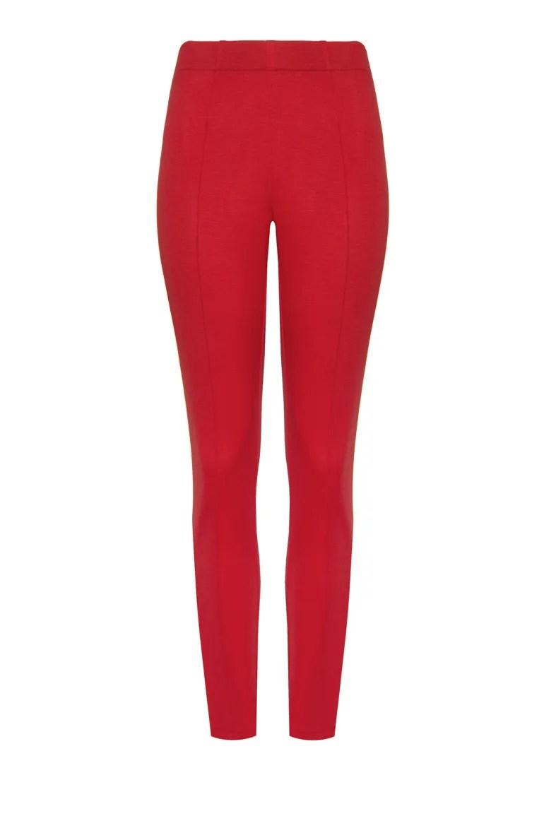 Czerwone dzianinowe spodnie damskie z gumą w pasie i kantem. legginsy z przeszyciami Vito Vergelis