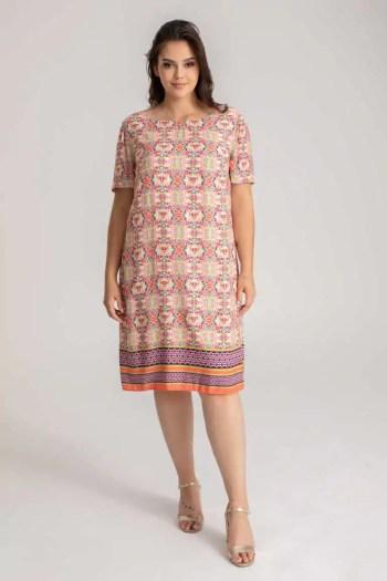 Kolorowa letnia sukienka z wiskozy w nadruk mozaiki marki Vito Vergelis
