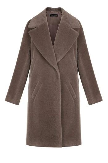 brązowy płaszcz z alpaki z dużymi klapami Vito Vergelis