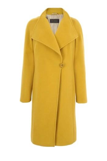 żółty, miodowy płaszcz z wełny owczej marki Vito Vergelis damski płaszcz wełniany