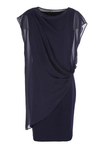 Kolekcja wizytowa. Granatowa, elegancka sukienka ołówkowa z szyfonową narzutką polskiej marki Vito Vergelis