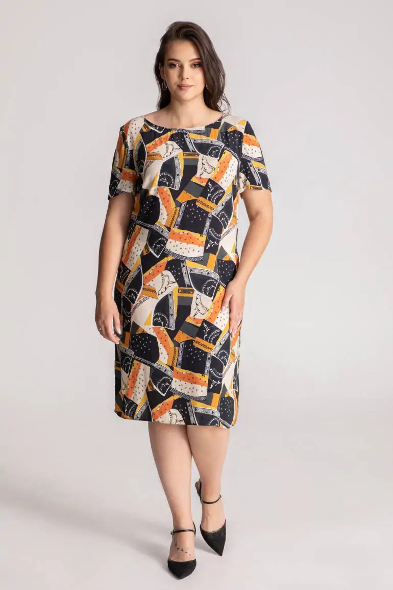 Kolorowa sukienka na lato z cupro z wiskozą polskiej marki Vito Vergelis.