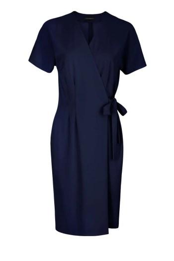 Granatowa kopertowa sukienka do pracy Vito Vergelis.