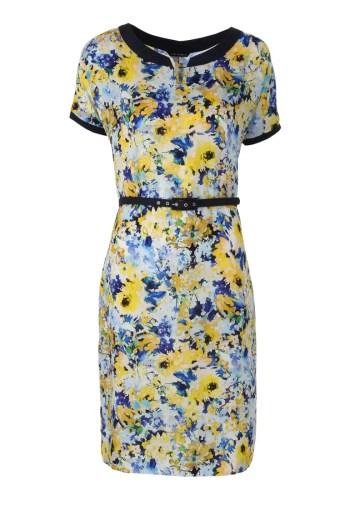 Sukienka w żółte kwiatki z paskiem. Sukienka w kwiaty marki Vito Vergelis