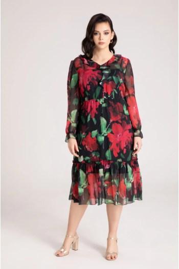 Sukienka midi z szyfonu w czerwone kwiaty. Sukienka plus size Vito Vergelis