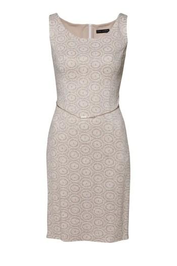 Dzianinowa sukienka Vito Vergelis ze złotą nitką. Ołówkowa sukienka bez rękawków.