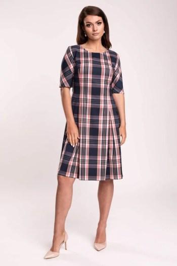 rozkloszowana sukienka w różowo-granatową kratę. Sukienka Vito Vergelis