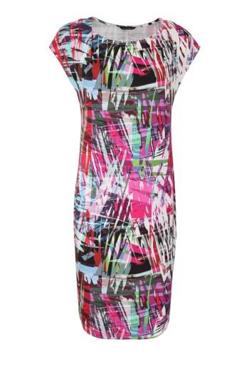 Kolorowa, dzianinowa sukienka na lato z opadającym rękawkiem marki Vito Vergelis