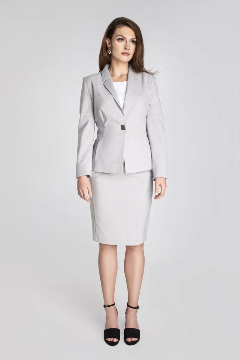 szary żakiet do pracy z wełną dziewiczą polskiej marki Vito Vergelis Biznesowy kostium damski