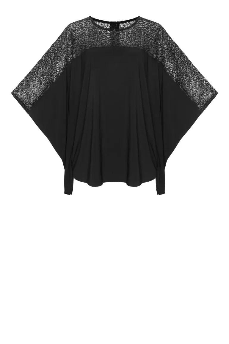 Linia wizytowa. Czarna tunika z ozdobną górą z błyszczącej siateczki polskiej marki Vito Vergelis