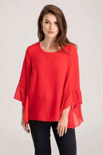 Linia wizytowa. Czerwona bluzka z szyfonu z szerokimi rękawami wykończonymi falbaną bluzka Vito Vergelis