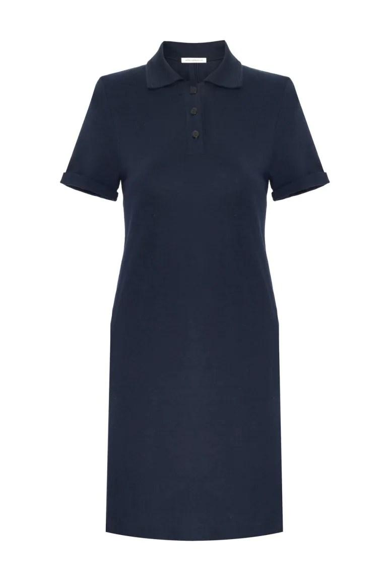 bawełniana sukienka polo granatowa. Letnia sukienka z bawełny organicznej polska marka Vito Vergelis