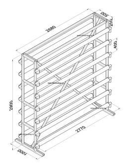 Стенд для линолеума 2,5 м х 14 рулонов двухсторонний