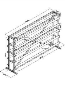 Стенд для линолеума 3,5 м х 10 рулонов односторонний