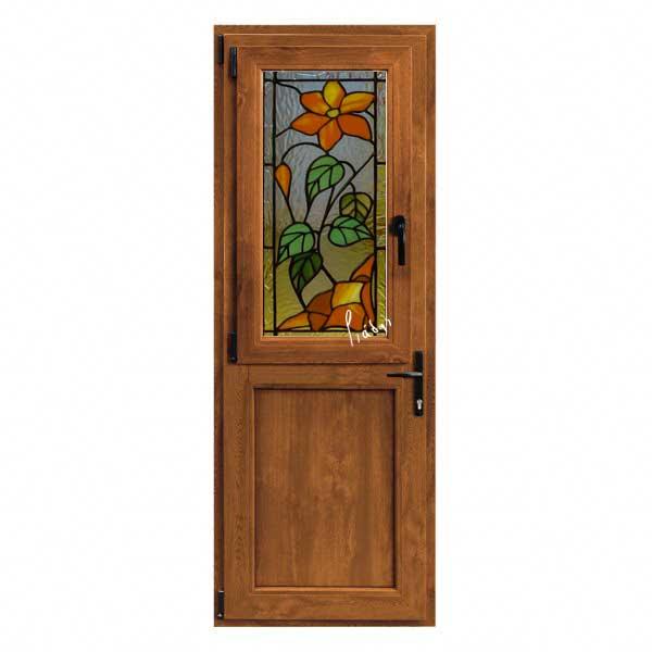 πόρτες καφέ με τζάμι