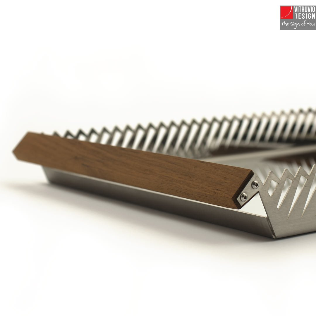 Stainless Steel Serving Tray  Made In Italy  Vitruvio Design